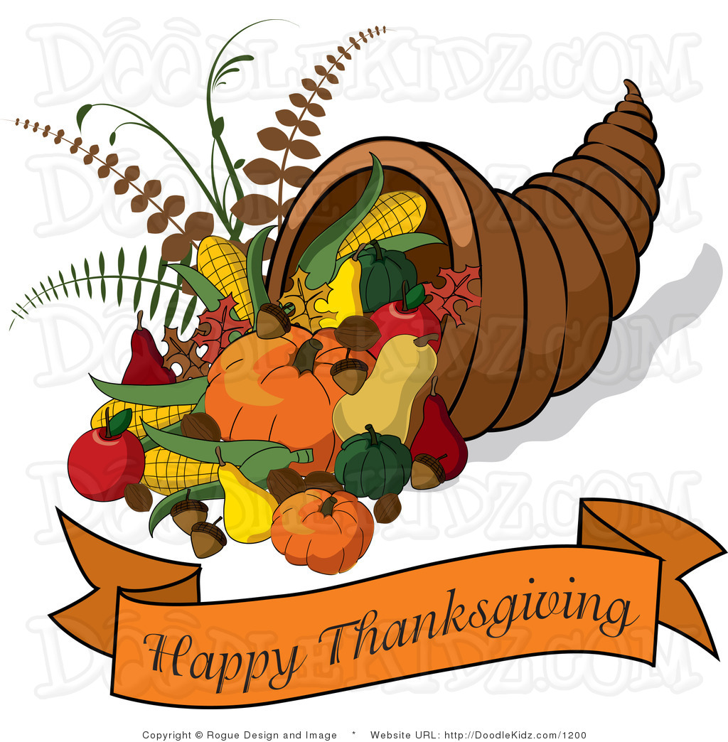 Cornucopia With A Happy Thanksgiving Banner By Pams Clipart 1200