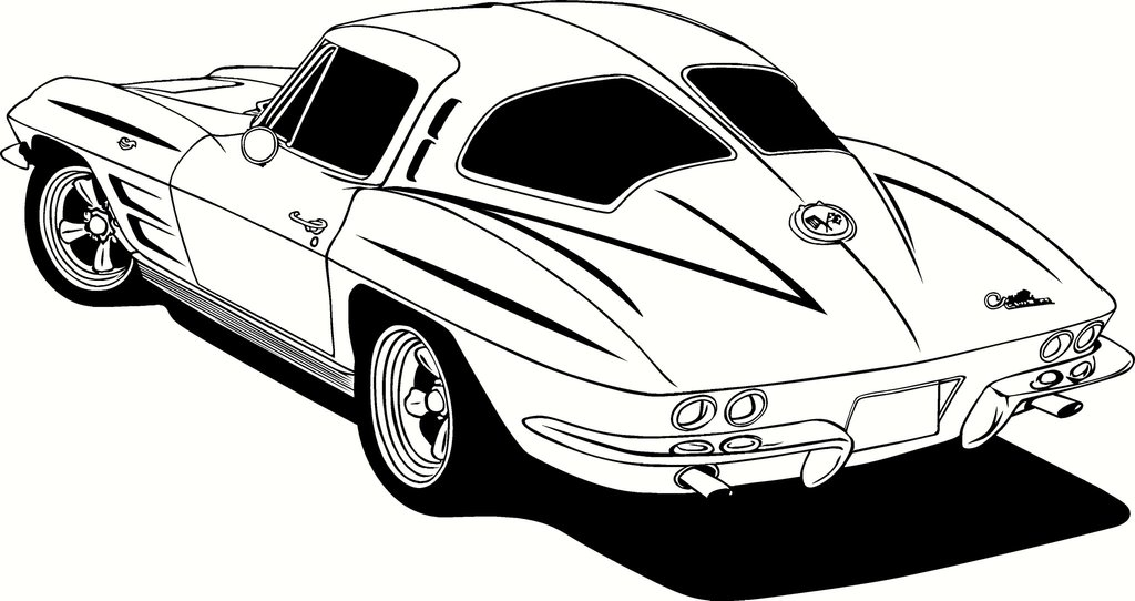 1963 Chevrolet Corvette Sting Ray Vinyl Cut Out Decal, Sticker