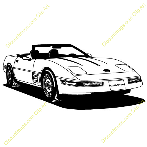 Cartoon Corvette Clipart #1