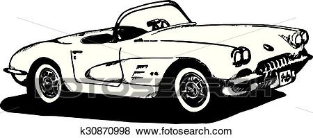 Clip Art - 60u0027S Corvette sketch. Fotosearch - Search Clipart, Illustration  Posters, Drawings