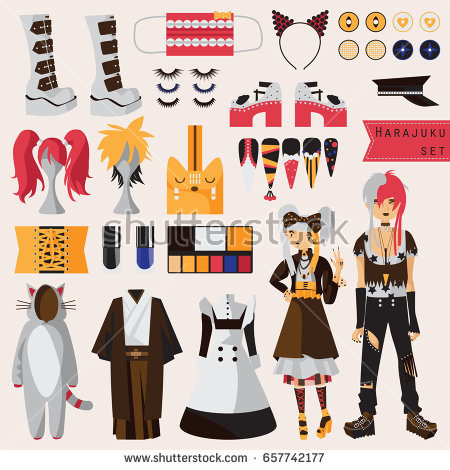 Bright set with subculture of - Cosplay Clipart