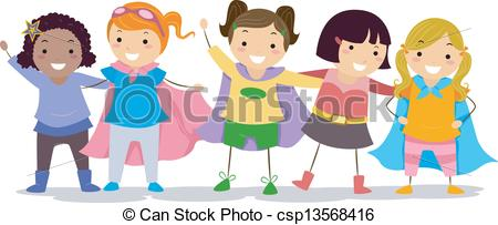 Girls In Superhero Costumes Vector