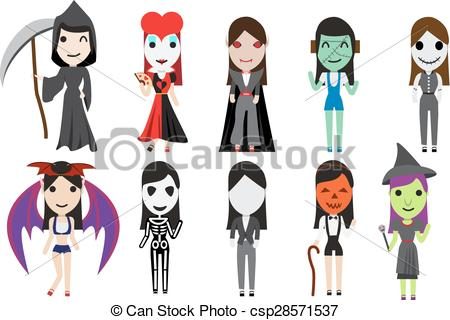 Set Of Halloween Cosplay Party By Cute Girl Vector