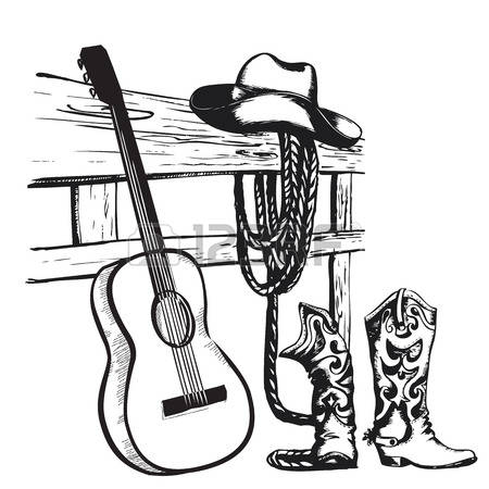 country music: Western country music poster with cowboy clothes and music guitar background for text