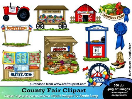 County Fair Clipart on Craftsuprint designed by Annie Lang - Hand rendered original country fair themed