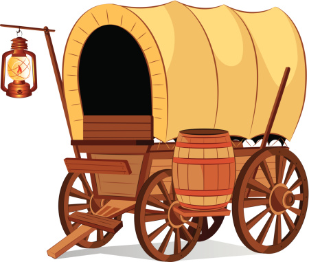 Covered Wagon vector art .