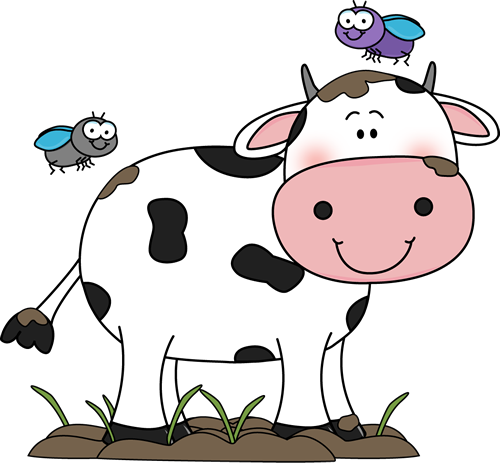Cute Cow Clip Art | Cow in the Mud with Flies Clip Art Image - cow standing  in and covered .