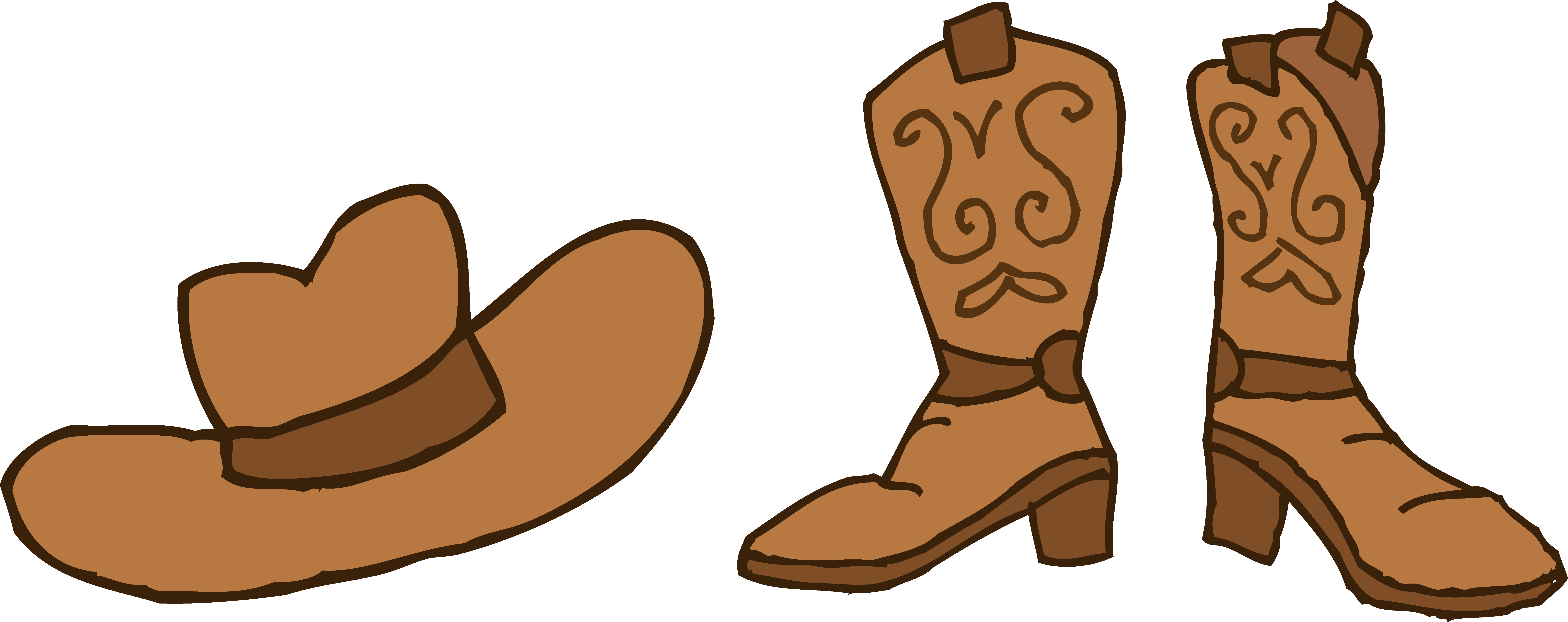 Cowboy Hat and Boots Clipart .