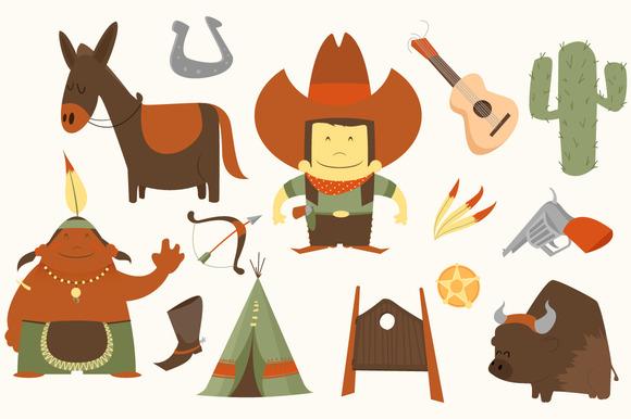 Cowboy Western Clip Art Pack .