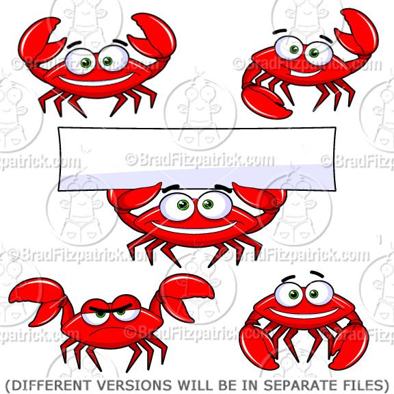 Cartoon Crab Clip Art Character