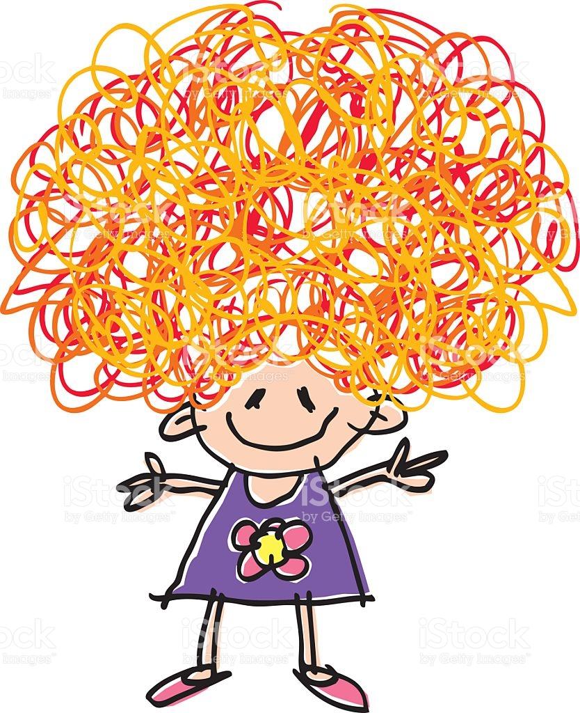 Crazy Hair Day. Curly Girl vector art .
