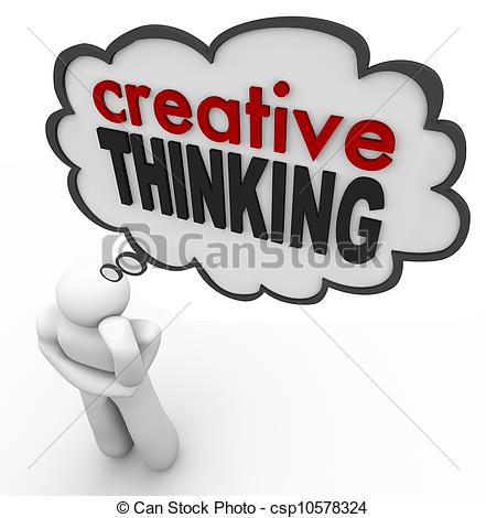 Creative Thinking Person Thought Bubble Brainstorm Idea - A..