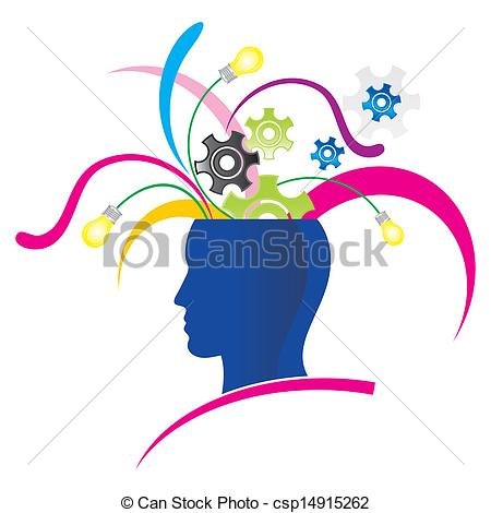 ... creative thinking - stylized head with explosion of... ...