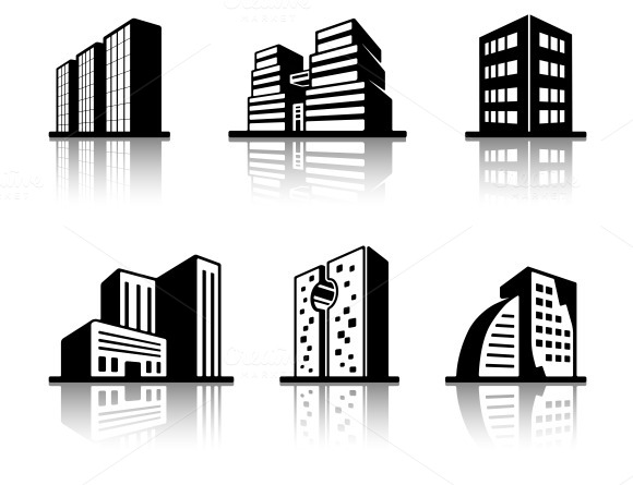 Creativemarket Black And White Building Icons 111928