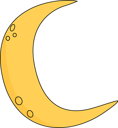 Crescent Moon Clip Art Image Yellow Crescent Moon With Craters