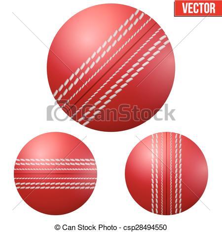 Traditional shiny red cricket ball - csp28494550