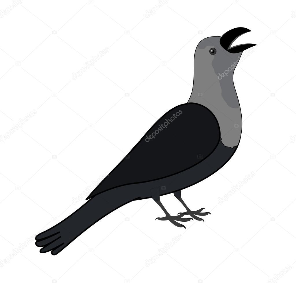 Cartoon Comic Crow Bird Vector Illustration u2014 baavli - Vektör