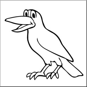 Clip Art: Cartoon Crow Bu0026W I abcteach clipartlook.com - preview 1