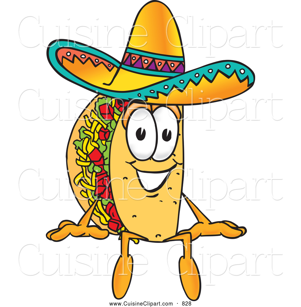 Cuisine Clipart Of A Cheerful Taco Mascot Cartoon Character Sitting By