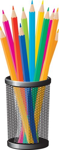 CUP AND COLORED PENCILS .