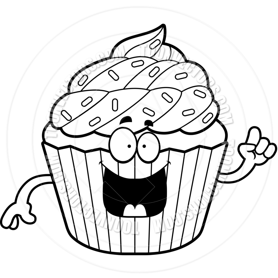 940x940 Birthday Cupcake Clip - Cupcake Clipart Black And White