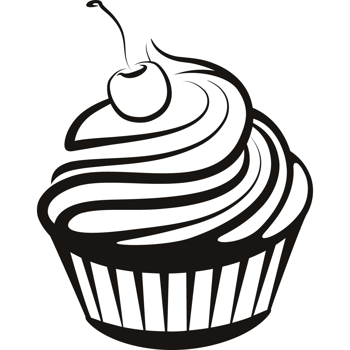 Black And White Cupcake Drawi - Cupcake Clipart Black And White