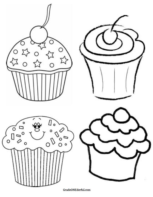 Cupcake black and white bun black and white clipart