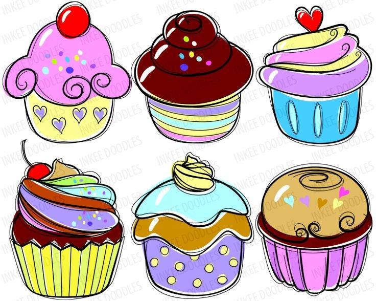 Cupcake doodles clip art candy .