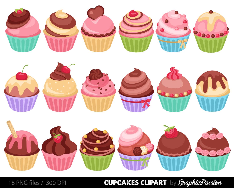 Cupcakes clipart digital .