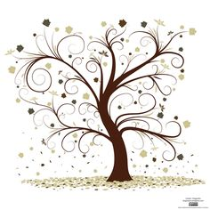 Curly Tree Image-Maybe use outline as a graphic on a quilt.