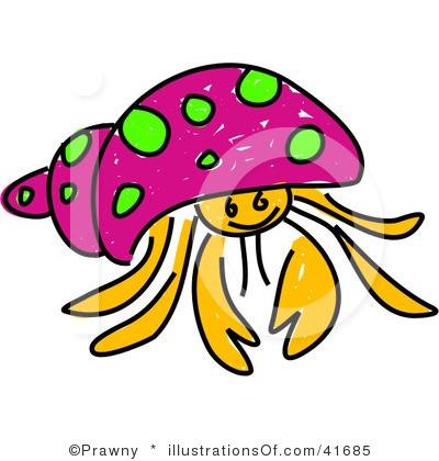 cute hermit crab clipart