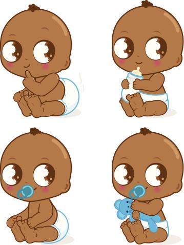 Cute African American baby boy .