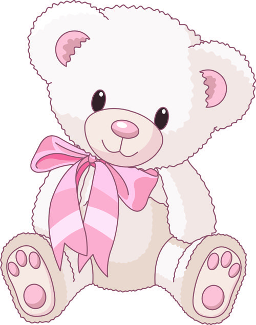 Cute Baby Girl Clip Art   Cute Teddy Bear vector Illustration 02 - Vector Animal free
