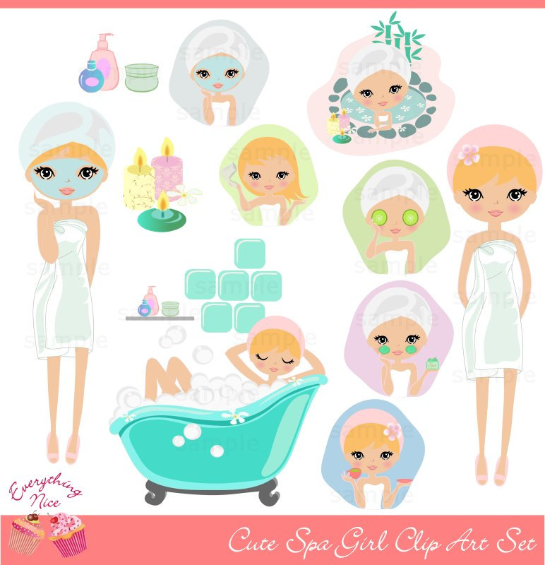 Cute Blonde Girl Spa Clip Art Set
