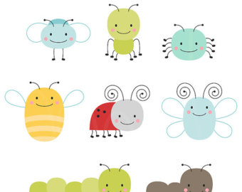 Cute Bugs Digital Clipart Clip Art Illustrations - instant download - limited commercial use ok