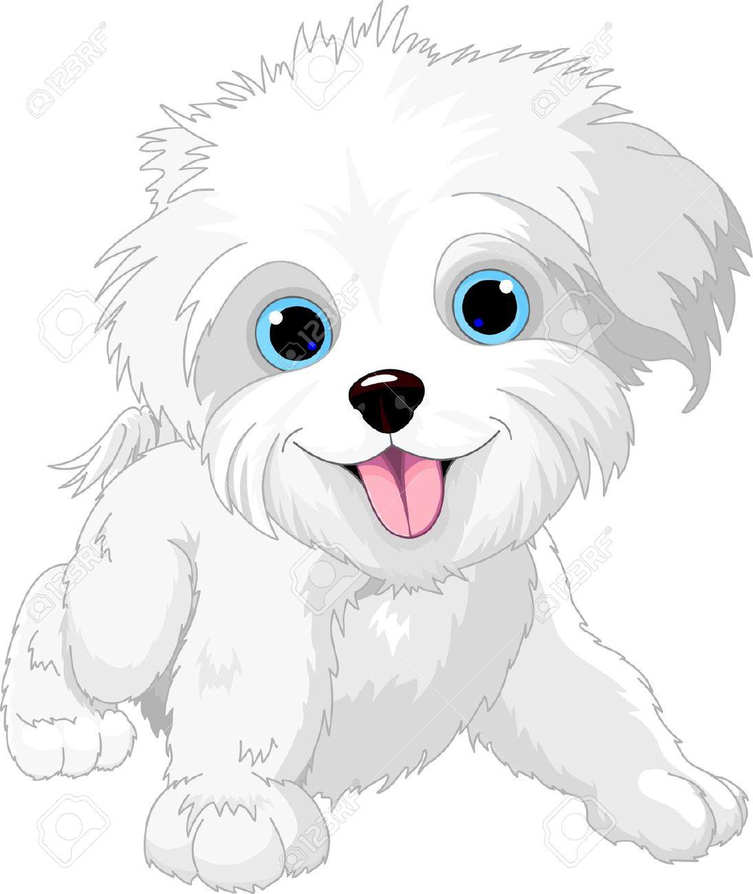 Cute bulldog puppy clipart .