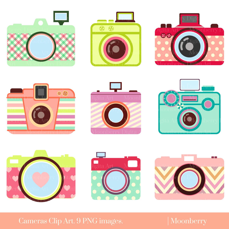 Cute Camera Clip Art u0026quot;CAMERA CLIP ARTu0026quot; Retro Digital Cameras.Photography ClipArt.Camera elements.Colorful Cameras.Png Cameras.Commercial Use