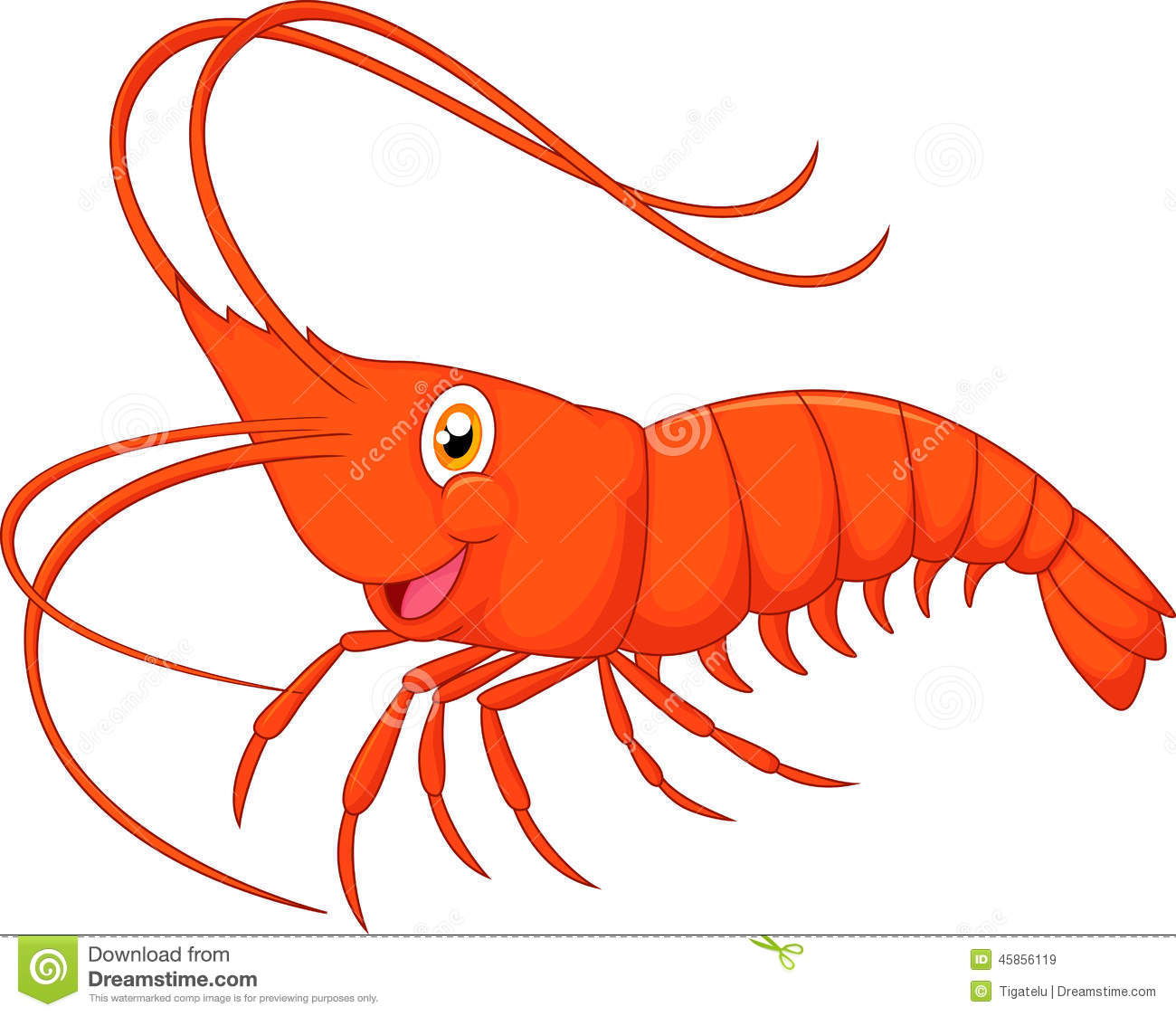 Cute Cartoon Shrimp Stock Vector Image 45856119