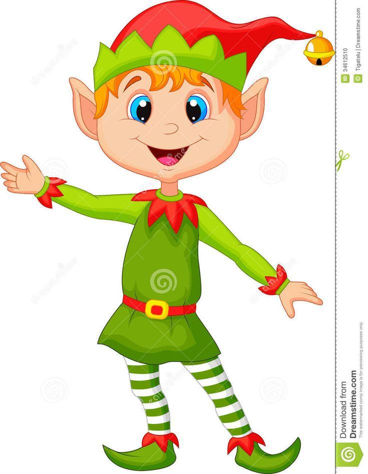 Cute Christmas Elf Cartoon Presenting Stock Photo Image 34612510
