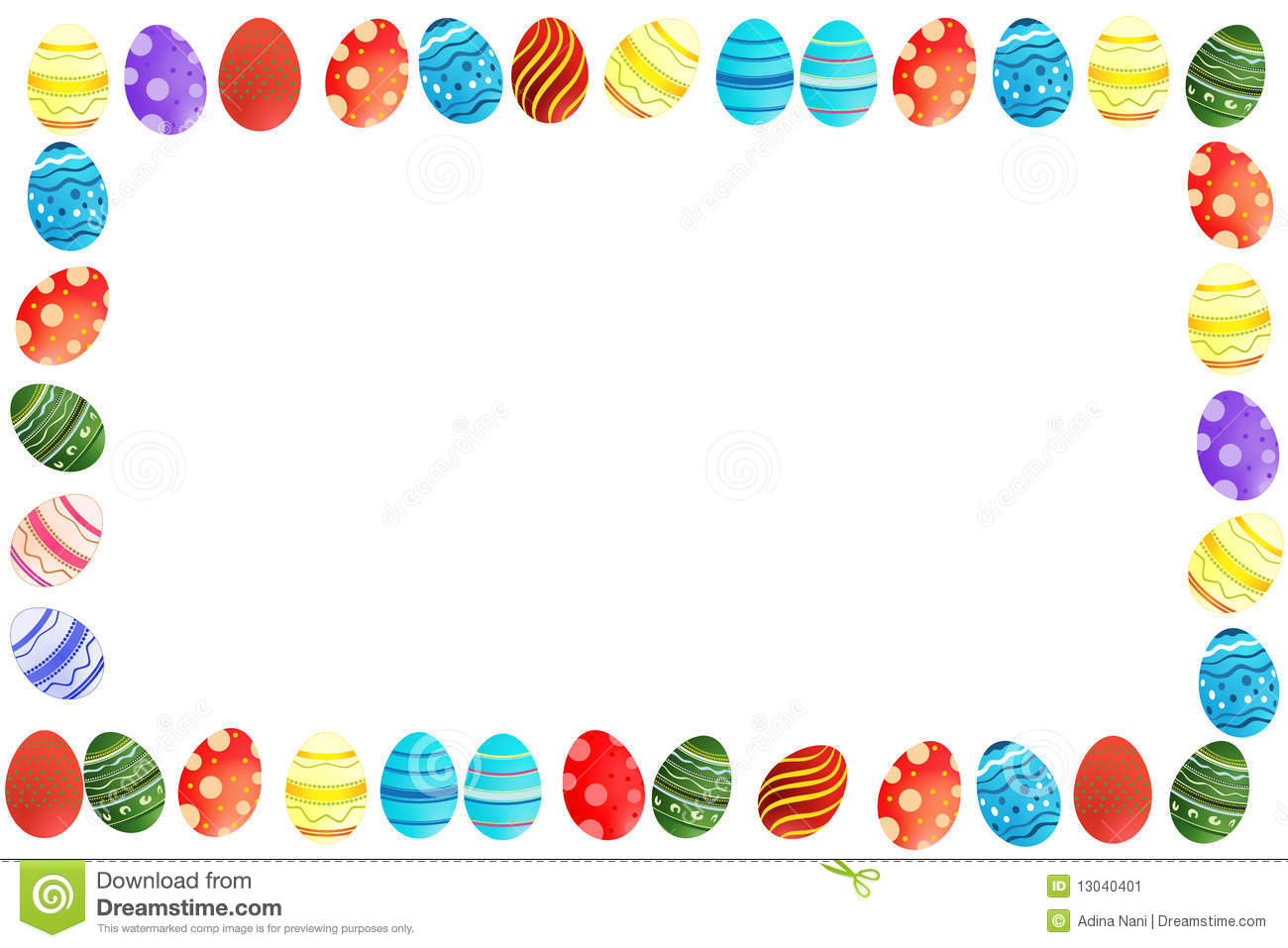 Cute Colorful Easter Eggs Border Frame White Background
