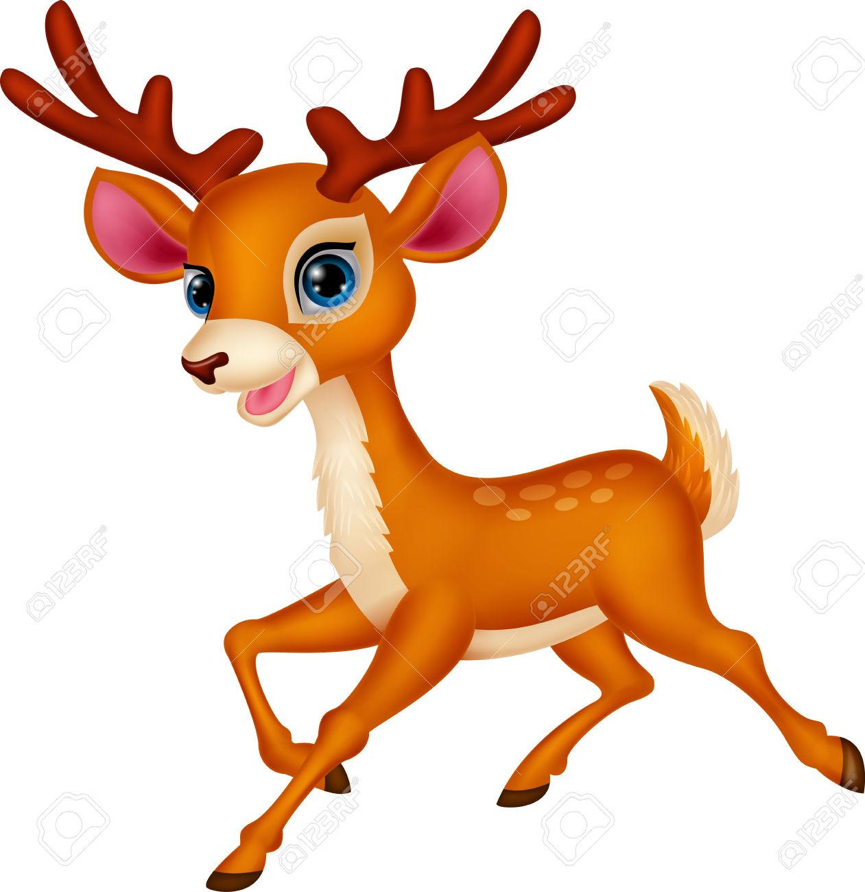 Cute deer cartoon running .