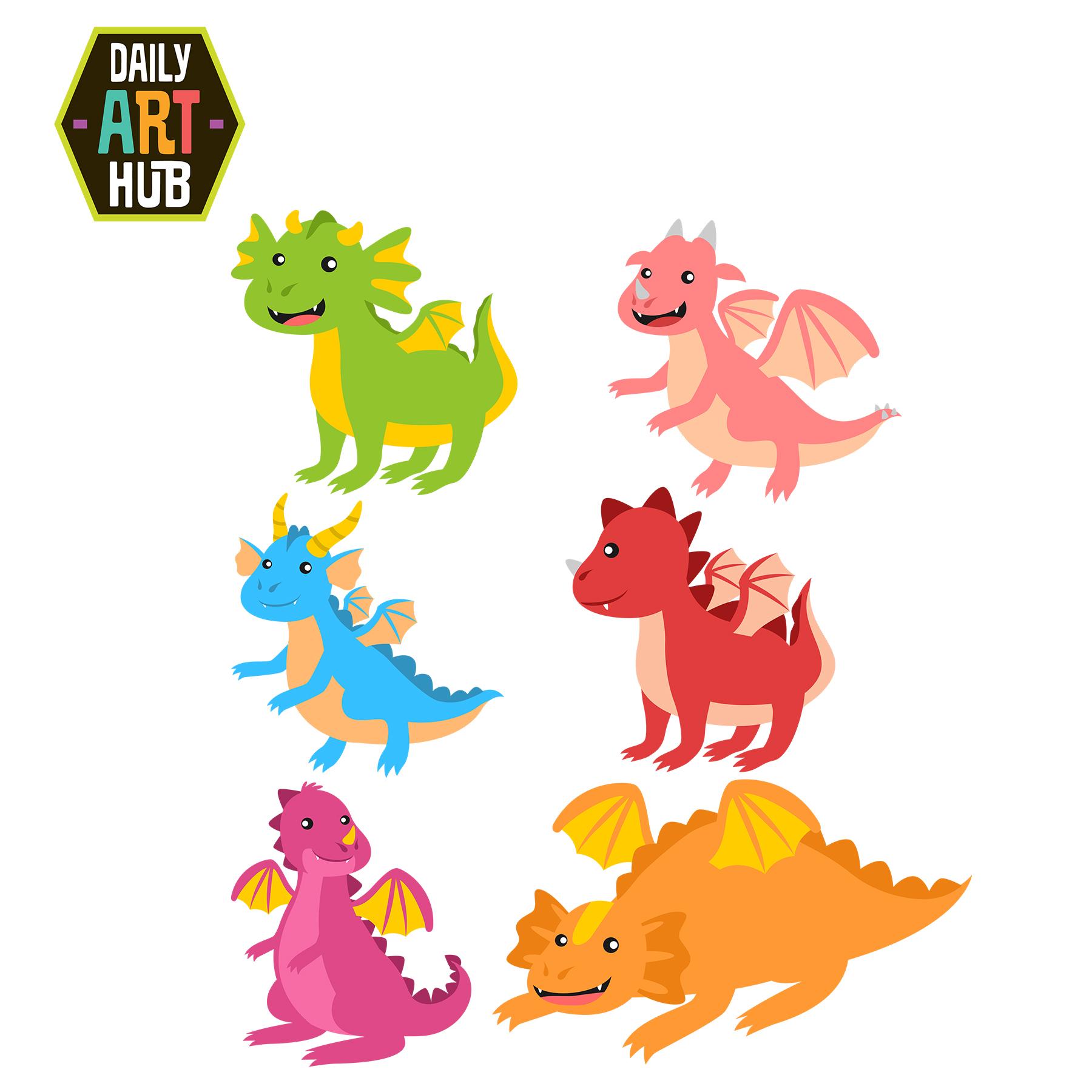 Cute Dragons Clip Art Set