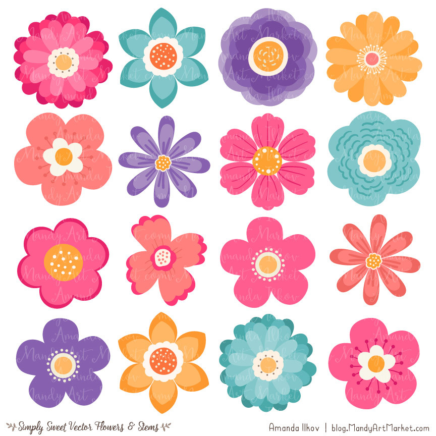 ... Cute Flowers Clipart in Crayon Box by Amanda Ilkov - Mandy Art Market - 3 ...
