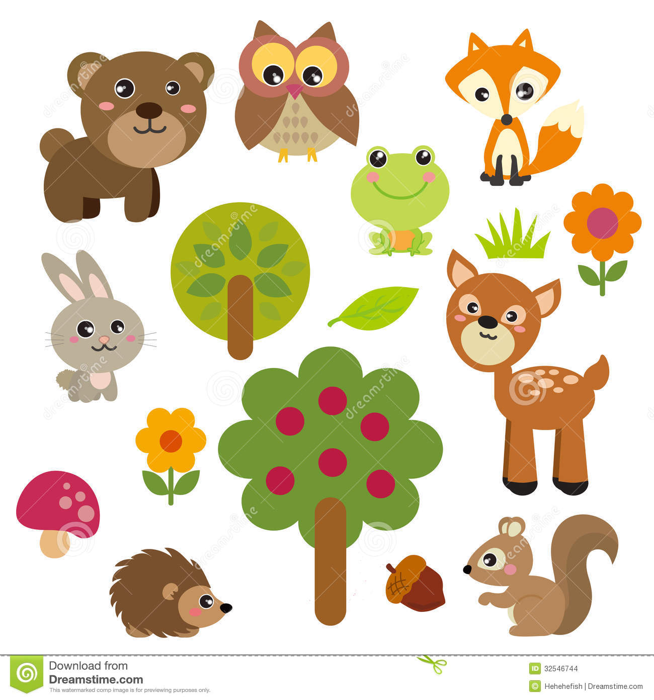 Cute Forest Animals Stock Images Image 32546744