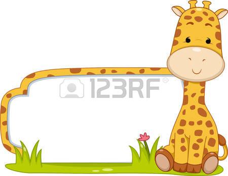 cute giraffe: Illustration of a Ready to Print Label Featuring a Cute Giraffe Sitting Beside