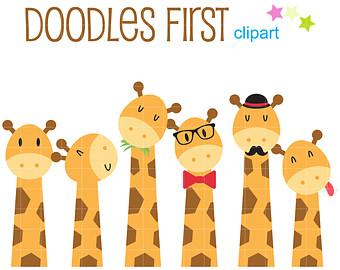 Cute Giraffes Clip Art for Scrapbooking Card Making Cupcake Toppers Paper Crafts