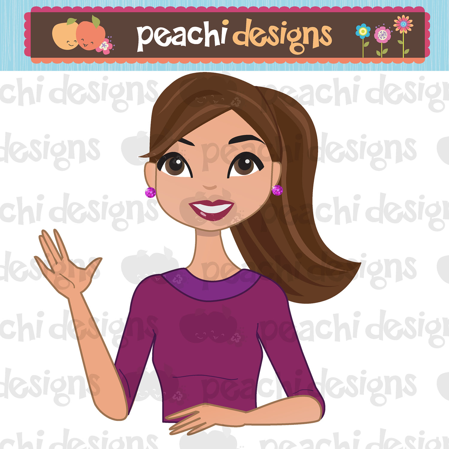 Cute Girl Character Clipart Illustration With By Peachidesigns