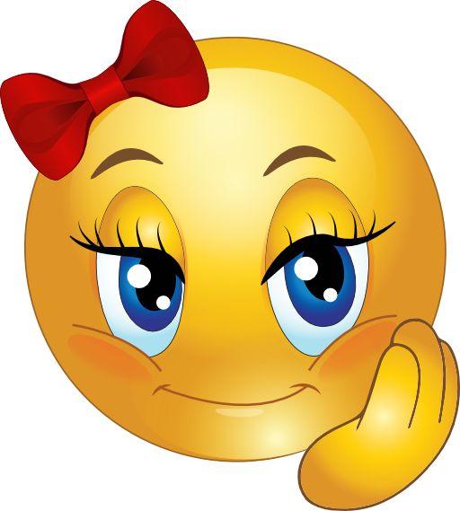 Cute Girl Smiley Faces | Cute Pretty Girl Smiley Emoticon Clipart - Royalty Free Public Domain