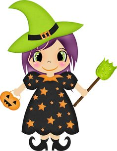 Cute halloween witches clipart