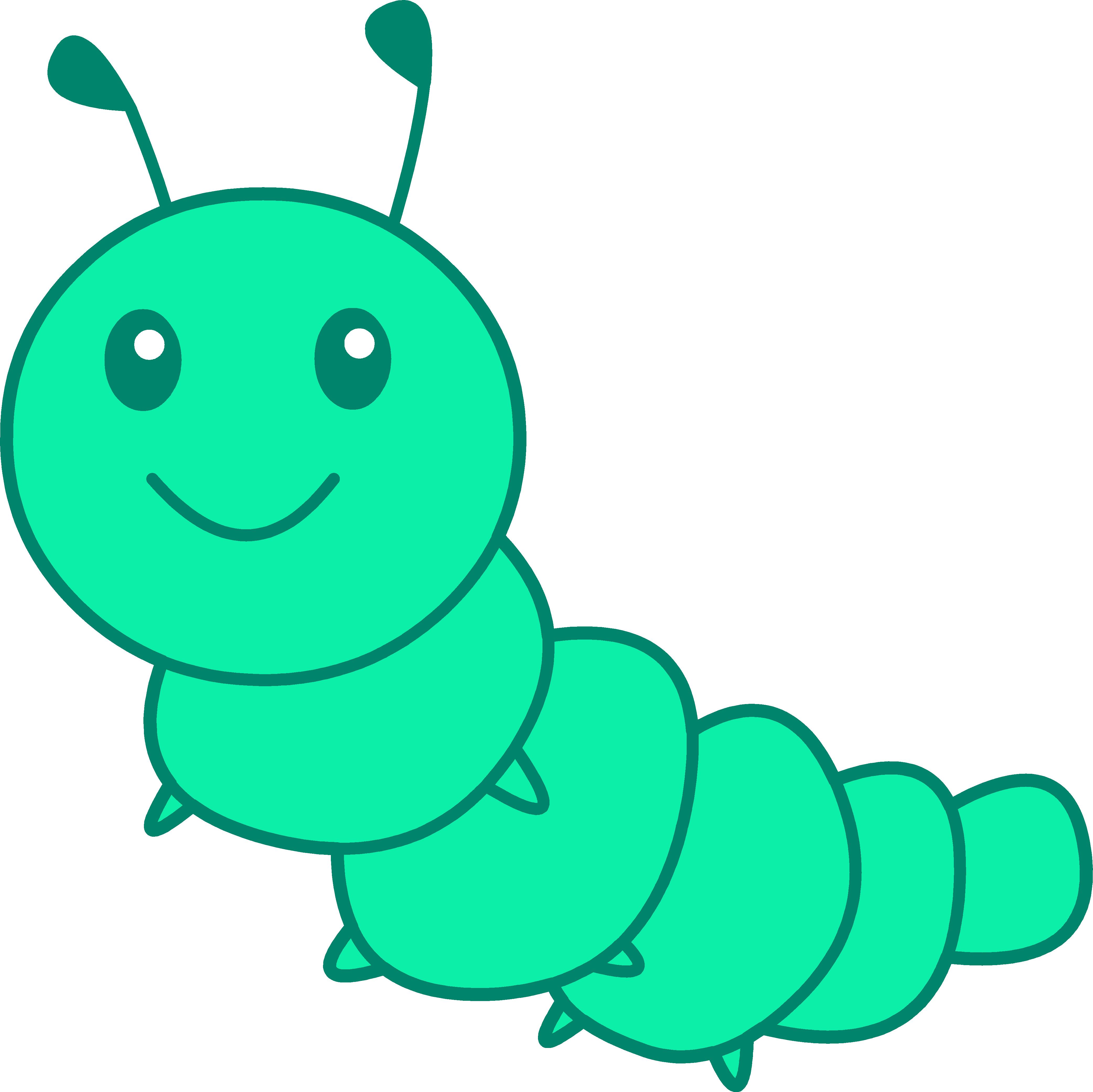 Cute Little Green Caterpillar - Free Clip Art